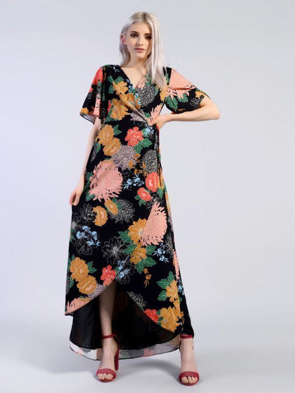 01abd8a7a831 Black Stamp Floral Print Wrap Front Dip Hem Maxi Dress