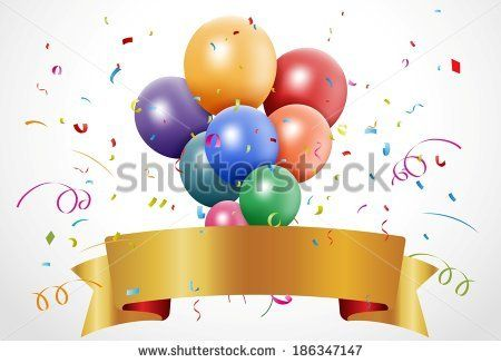 Colorful birthday celebration with balloon and ribbon