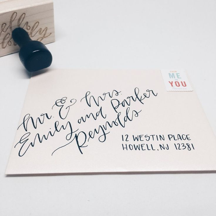 Envelopes with hand lettering — modern calligraphy or brush lettering — will…
