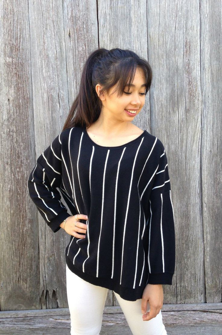 Boho Black and White Pinstripe Sweater - Sacs On Jenkins