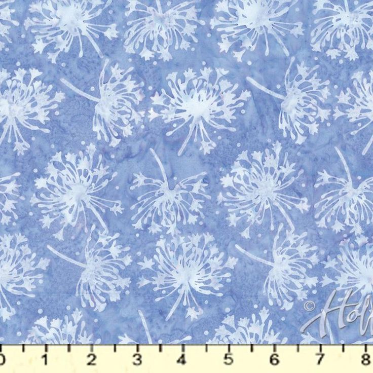 "Agapanthus. African lily heads in light blues. 100% cotton batik, 42-45"" wide."