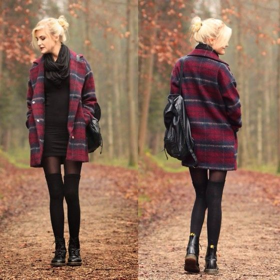 Faye S. - C&A Coat, C&A Dress, Primark Scarf, Urban Outfitters Overknees, Dr. Martens Boots - You'll never know