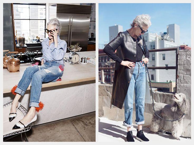 Imagen que contiene a la estilista linda rodin llevando jeans con la bota remangada, a la izquierda, sentada sobre el mesón de una cocina con un look de jeans rotos y camisa en chambray. A la derecha la vemos con un look de jeans y abrigo de cuero, paseando a su perro.
