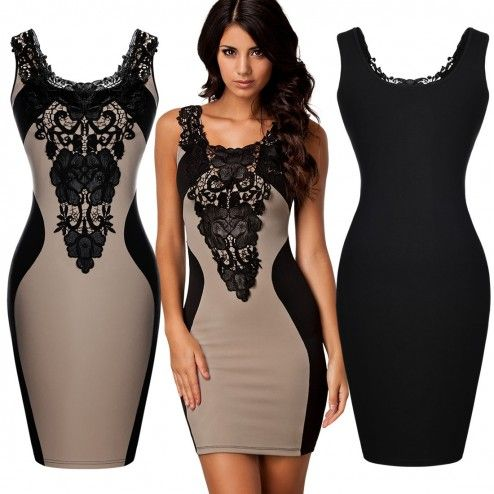 Floral Lace Bodycon Dress - Beige from Fashify, love this but sizing is small