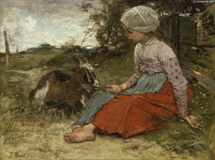 """""""el mascota cabra"""" de Jacob Henricus Maris (1837-1899, Netherlands)"""