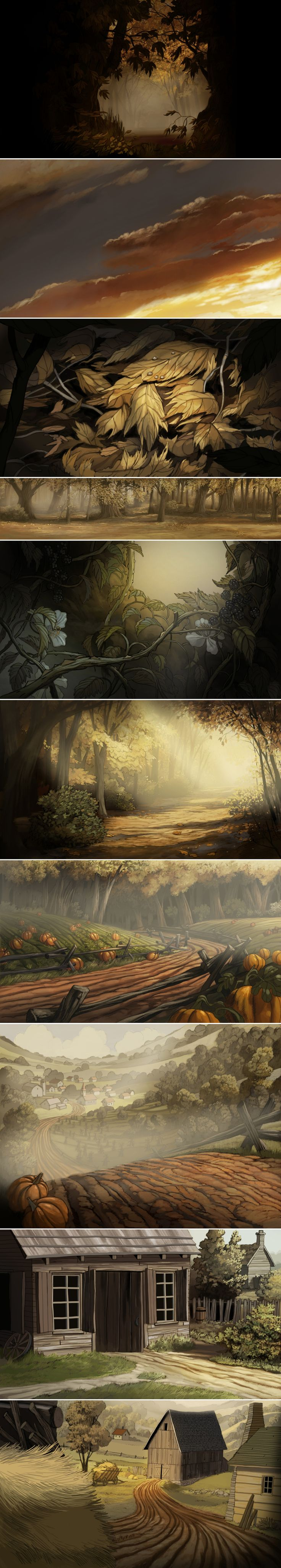 """Some backgrounds I designed and painted for Over the Garden Wall - Chapter 2 """"Hard Times at the Huskin' Bee"""""""