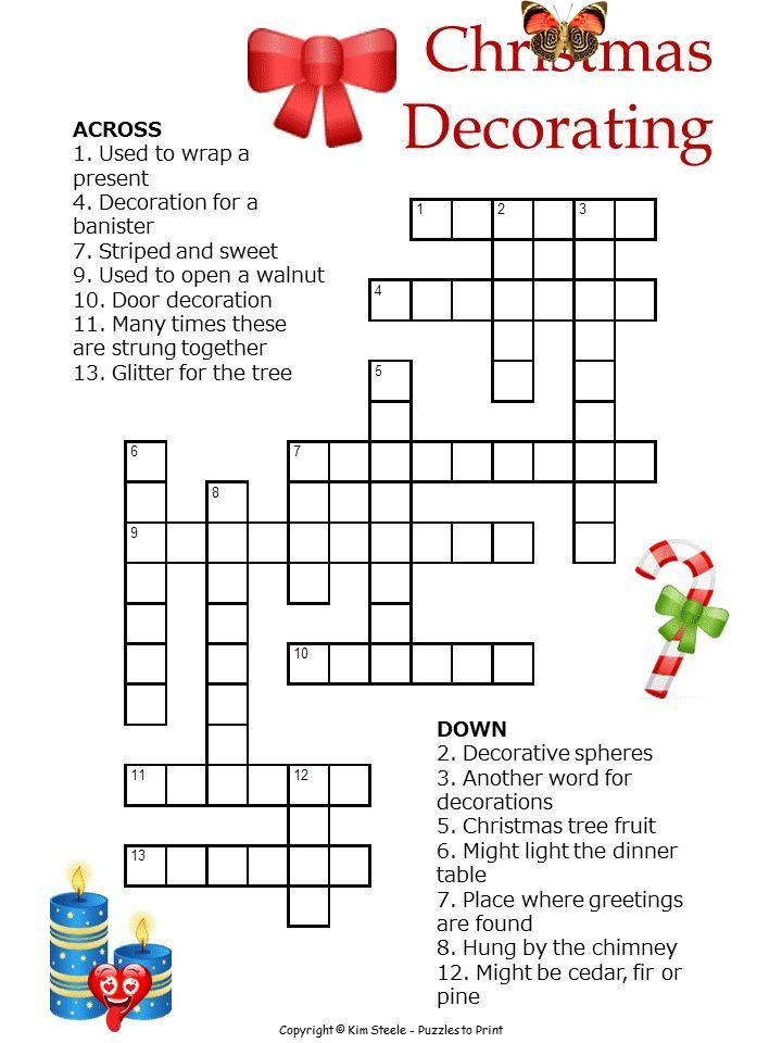 Christmas Decorations Crossword For Kids Printable Christmas Puzzle This One Is A Crosswo Christmas Crossword Christmas Crossword Puzzles Christmas Worksheets