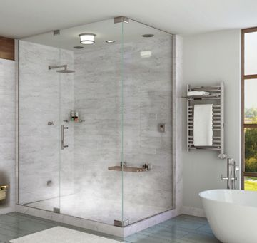 The new Steam At Home steam showers from Mr. Steam offer a compact and affordable home steam shower solution for smaller baths … and smaller budgets!  Instead of a sauna, consider a steam at home shower. Mr. Steam now offers steam generators that are 20% smaller than traditional.  These 3 new models fit 3′ X …