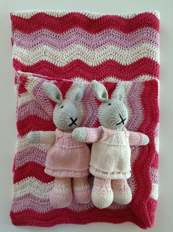 Hand knitted bunny and blanket set in pinks and cream.