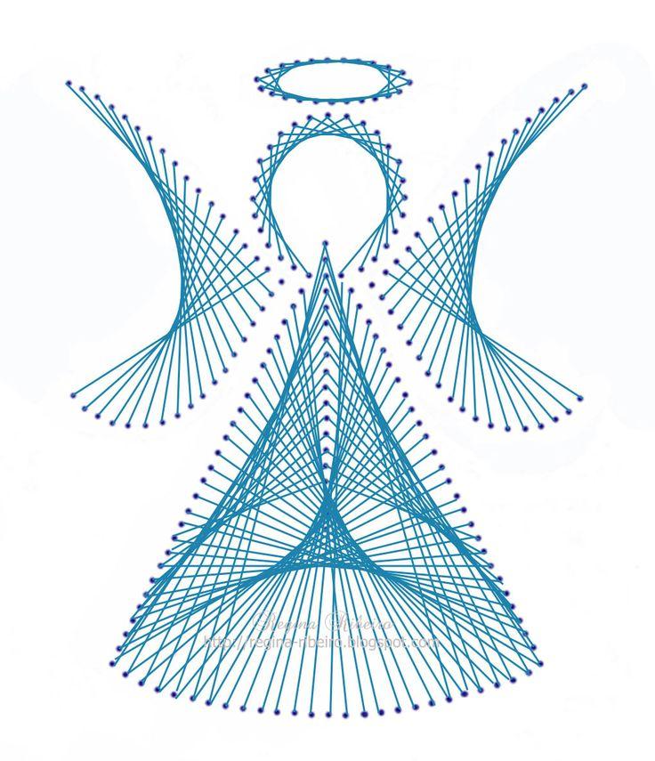 String Art Angel, completed  feito à mão por Regina: Anjinho bordado no papel - instruções e risco