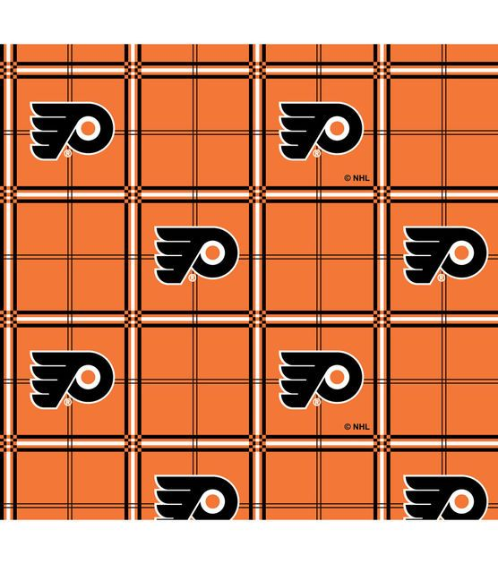 Philadelphia Flyers  NHL Plaid Flannel Fabric