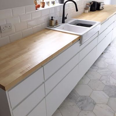 Kitchen Reveal - Ikea units, white, handleless, black tap, wooden worktops, marble tiles