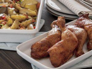 Grillet kyllinglår med lun potetsalat