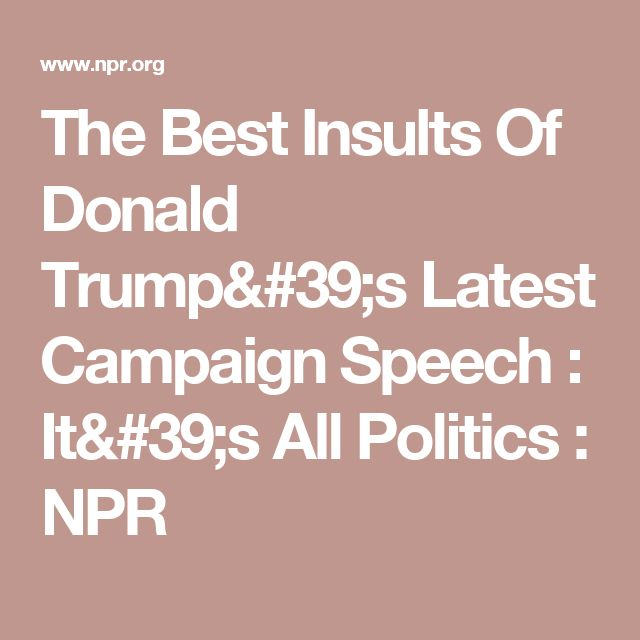The Best Insults Of Donald Trump's Latest Campaign Speech : It's All Politics : NPR