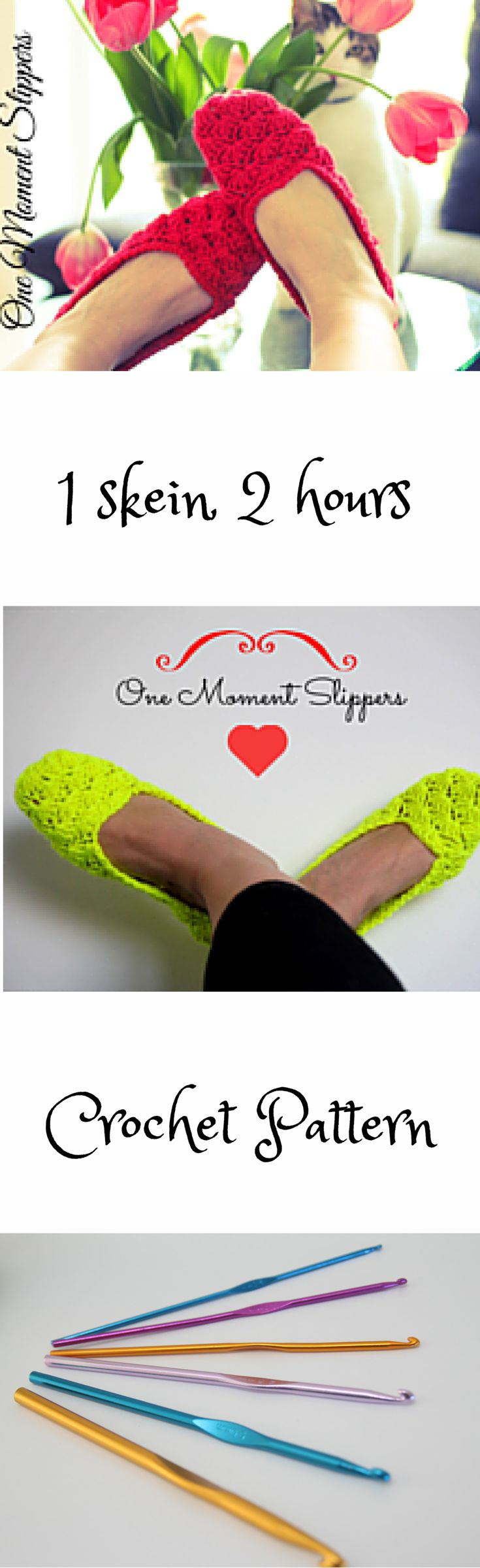 Nice and comfy MJ slippers. Size 4-12. Step by step description. Fun and easy to make up of 1 skein (100 g) of Aran weight yarn.   http://www.ravelry.com/patterns/library/one-moment-slippers