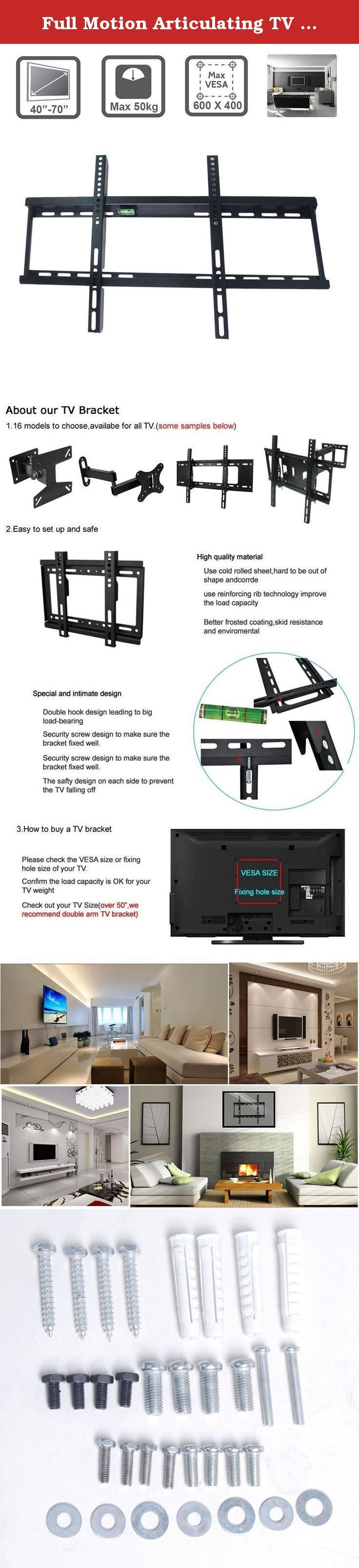 "Full Motion Articulating TV Wall Mount Bracket for most 40-70 inch LED, LCD, OLED and Plasma Flat Screen TVs w/ VESA patterns up to 600 x 400mm. Item Description: This Retractable Bracket fits 40"" - 70"" 3D, LED, LCD, Plasma TVs. Features: 1. Brand new,high quality. 2. Flexible TV Wall Mount Bracket design, ideal for your TV. 3. Be made from solid, sturdy steel,can support up to 50kg(110Ibs). 4. Material: SPCC with coating finished. 5. Supports VESA standards 600 mm x 400 mm,400 mm x 400…"