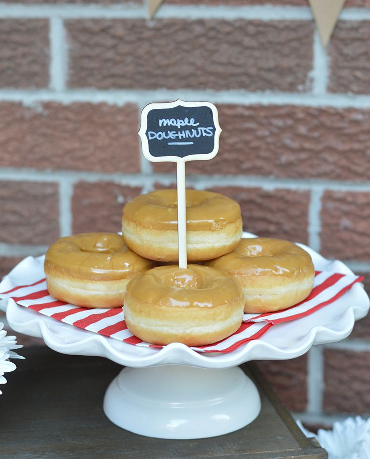 Canada Day party - links to this Maple Doughnuts recipe (uses yeast). More