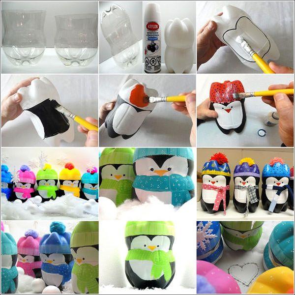 Simpatici pinguini con fondi di bottiglie