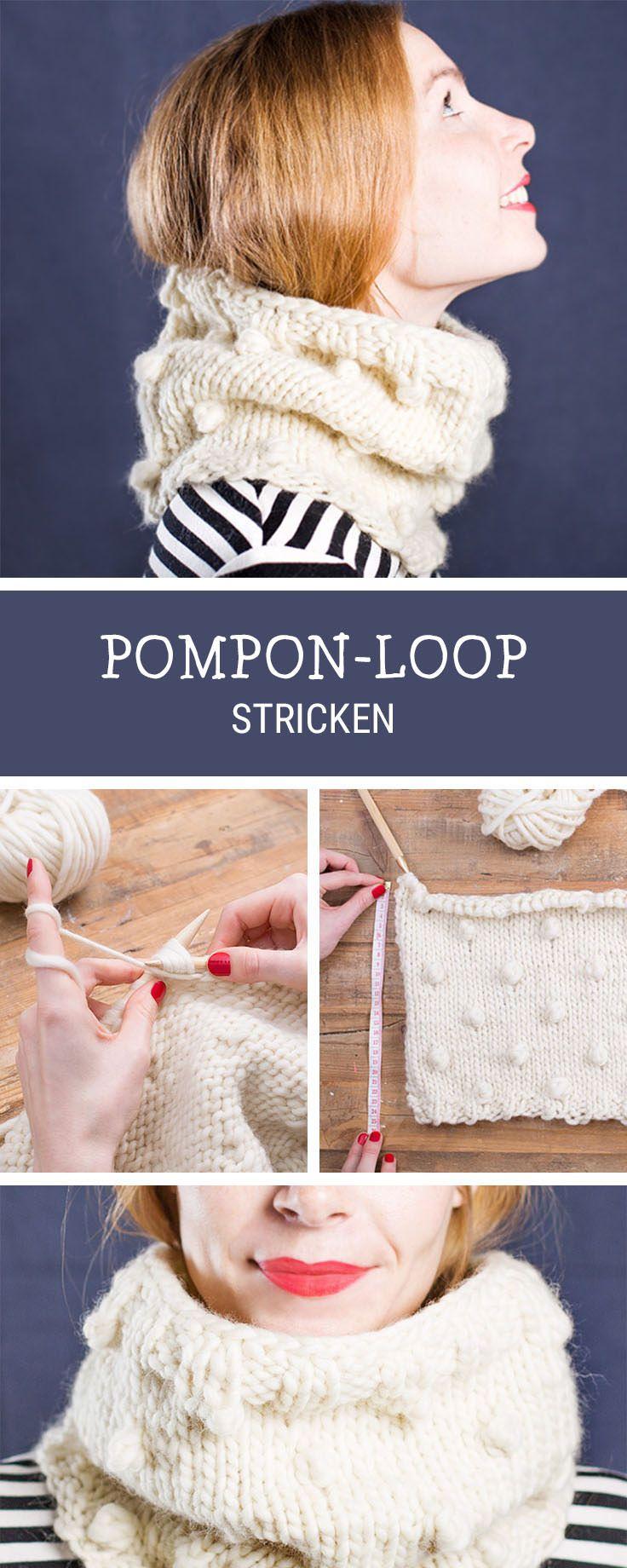 Einfache Strickanleitung für einen kuscheligen Loop-Schal mit PomPom-Muster, Strickanfänger / beginners knitting pattern for a loop with pompon pattern via DaWanda.com
