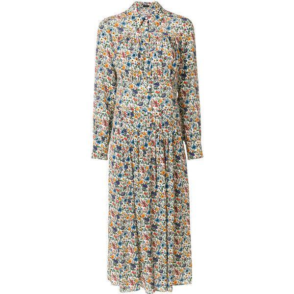Joseph floral print dress (3,545 CNY) found on Polyvore featuring women's fashion, dresses, multicolour, multi coloured dress, floral print silk dress, silk dress, colorful floral dress and colorful dresses