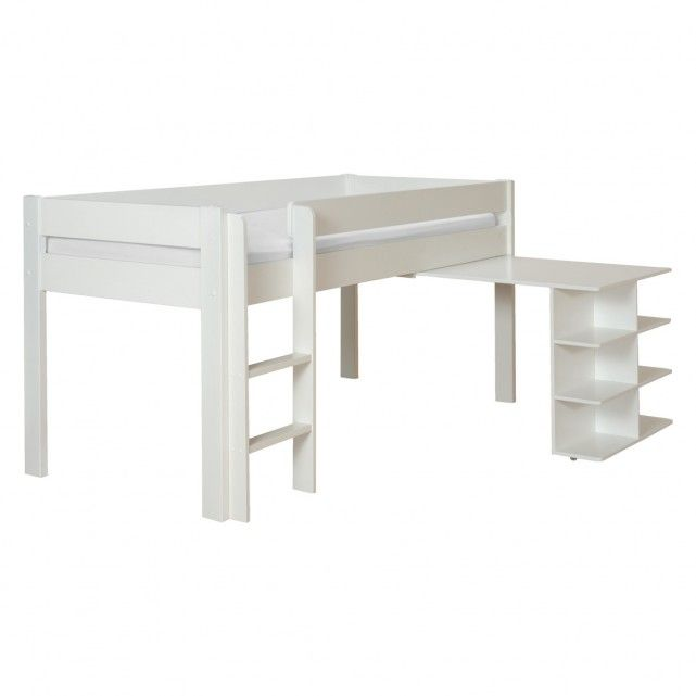 PONGO Kids' whiteEU single mid sleeper with pull out desk 90cm