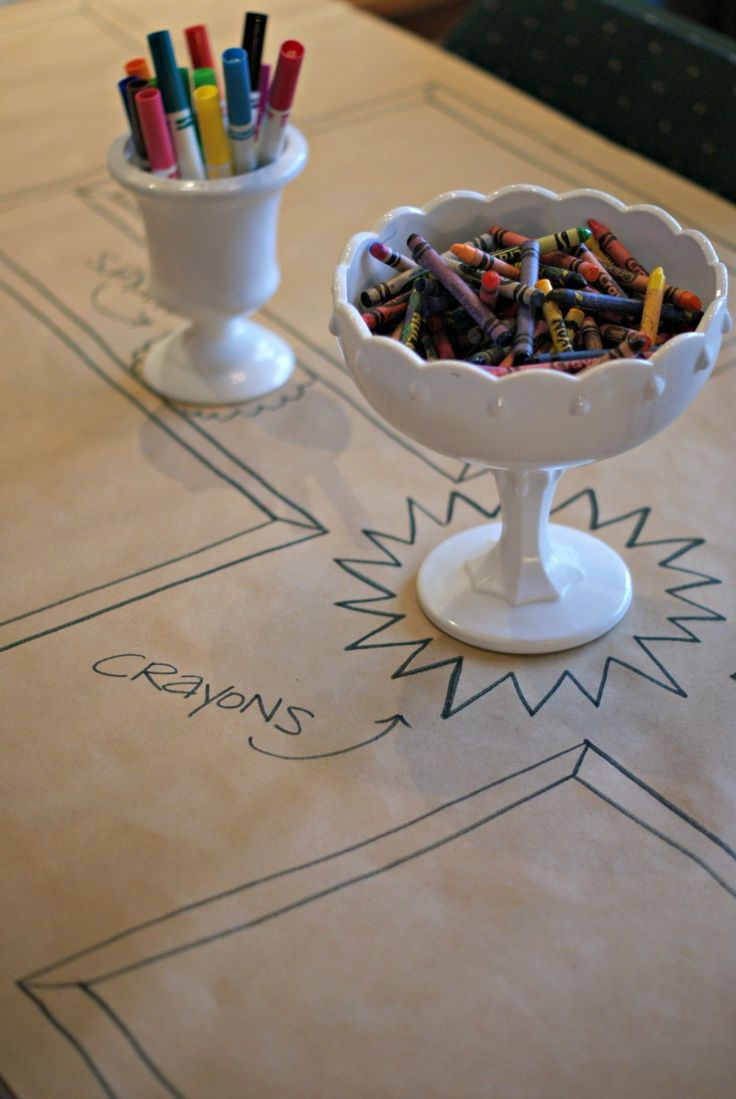 Brown paper table cloth with frames drawn for crayon artworks. Dimples and Tangles