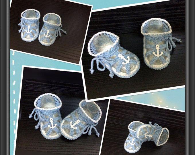 Gehaakte baby jongens zomer sandalen, haak blauwe en witte sandalen met nautische decor. Baby douche cadeau. Formaat kiezen.