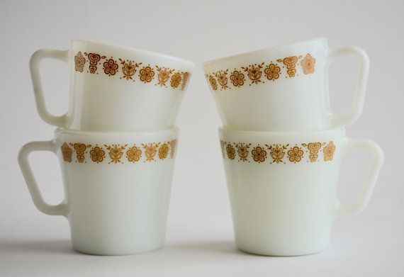 Pyrex Milk Glass Mugs in Butterfly Gold Coffe Cup by DarbVintage
