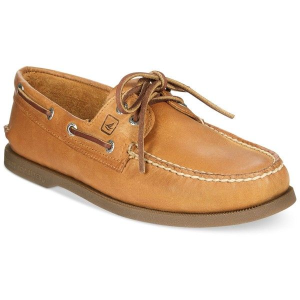 Sperry Men's Authentic Original A/O Boat Shoes ($95) ❤ liked on Polyvore featuring men's fashion, men's shoes, men's loafers, sahara, mens shoes, mens sperry topsiders, mens deck shoes, mens leather deck shoes and sperry mens shoes