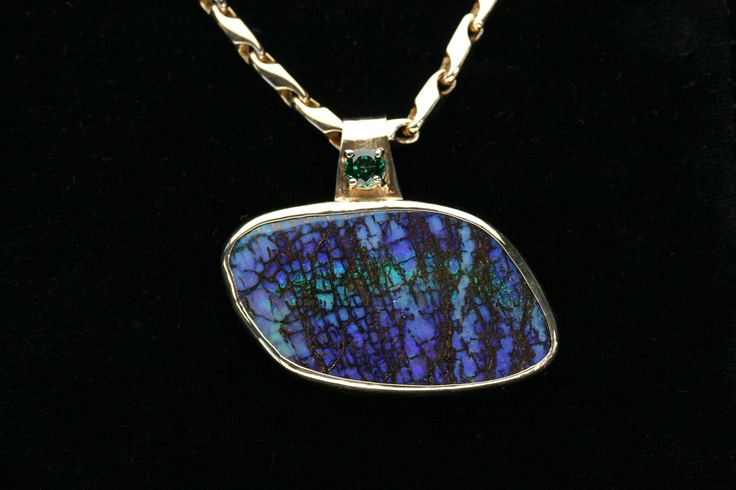 Australian boulder Opal and green Garnet Yellow Gold Pendant