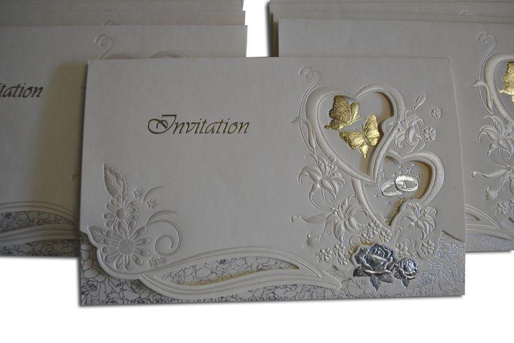 Traditional cream wedding invitation