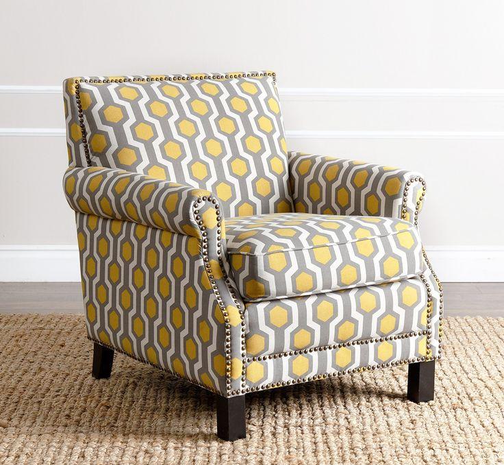 Abbyson Living Kennedy Yellow Pattern Club Chair