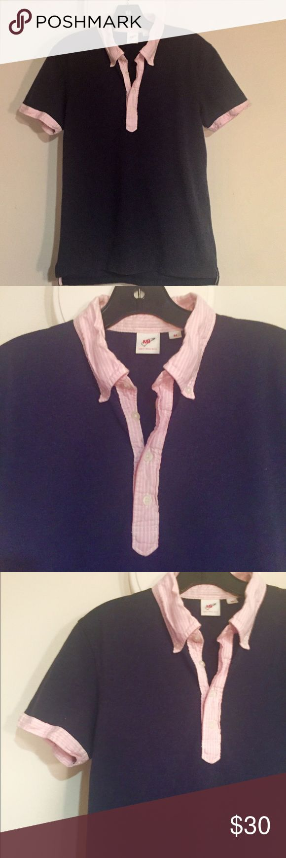 Michael Bastian & Uniqlo Blue W/ Pink Polo Med Michael Bastian and Uniqlo collaboration Blue with Pink pinstripe detail polo shirt.  Size medium, in perfect condition.   No longer available in stores. Michael Bastian/Uniqlo Shirts Polos