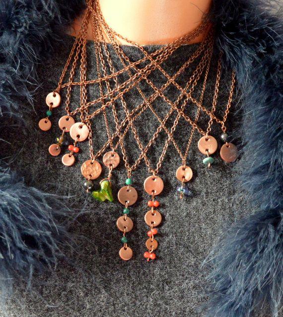 copper malachite necklace copper jewelry copper by CopperFinger
