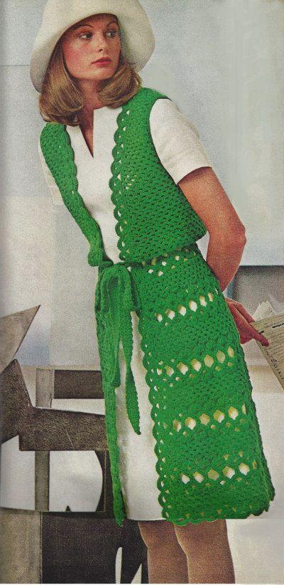 Vintage Crochet Pattern, Long Vest Coat, INSTANT DOWNLOAD ...