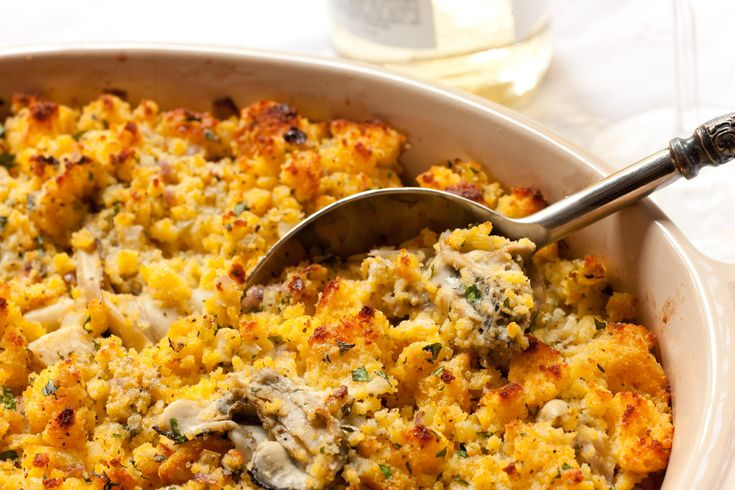 A cornbread and oyster stuffing recipe from Chef Charlie Palmer with celery root, fresh oysters, and cornbread.