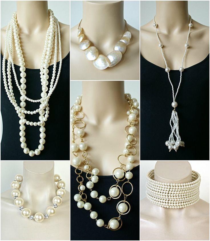 Moderne nep parelkettingen.http://www.statementpieces.nl/c-1111284/beige-creme-gebroken-wit/ #parelketting #parelkettingen #bruiloft #pearls