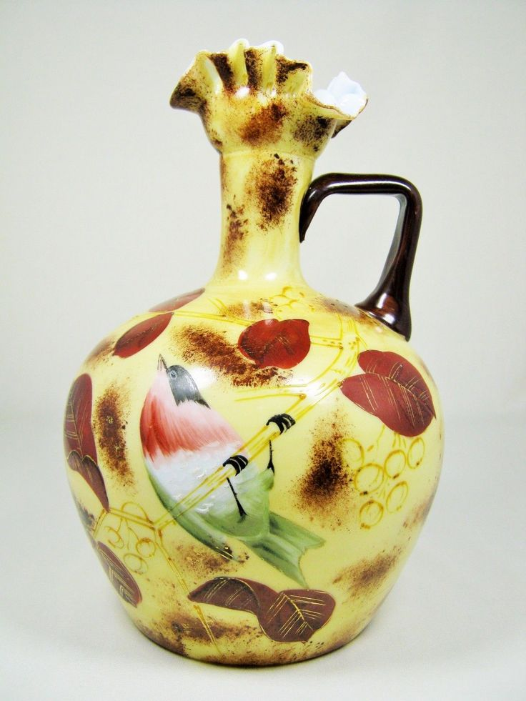 Antique Victorian Bohemian Harrach Art Glass Ewer Gold Enameled Painted Bird | eBay