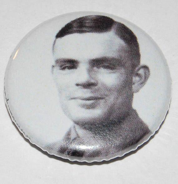 Alan Turin Button Badge 25mm / 1 inch Enigma Gay Pride