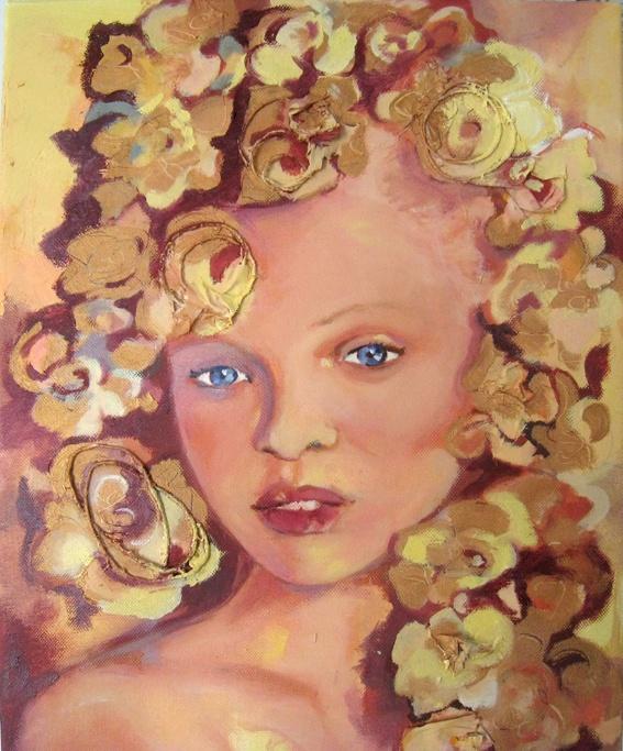 Kultaiset ruusut, The Golden Roses 2009  47 x 39 cm  öljy, sekatekniikka / oil, mixed media