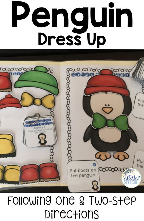 Practice following one and two-step directions by dressing up the penguin.  Directions become slowly longer and more complex as you move through the different levels (i.e. activities).
