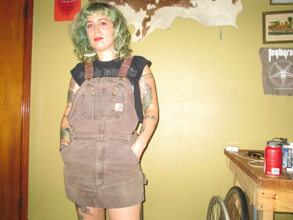 Brown Carhartt Bibs Overall Dress DIY Crust Punk by BADTASTECLUB, $55.00