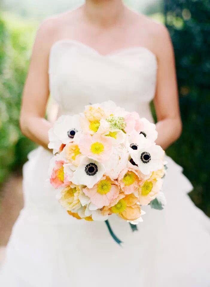 Wedding bouquet anemones yellow
