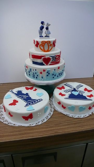 Dutch American Wedding   Flickr - Photo Sharing! Wedding Cakes by Cake Amsterdam./ Delfts Blauw themed wedding cake with flags and design elements from their wedding invite.