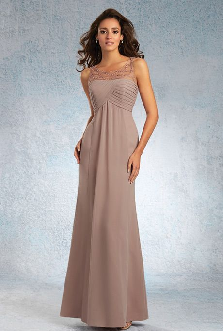 Sapphire by Alfred Angelo. Chiffon floor length gown with a draped dipped neckline, lightly gathered front streamer and a sheer soft net yoke with tonal beading.