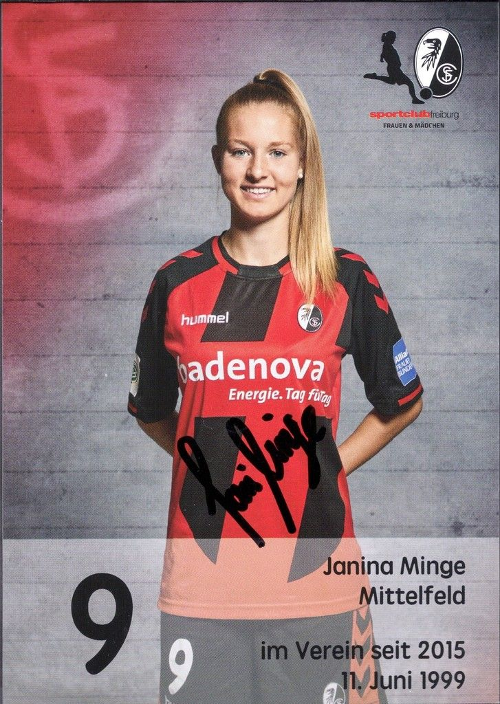 2016-17 SC Freiburg Janina Minge (Germany U17 National Team) autograph