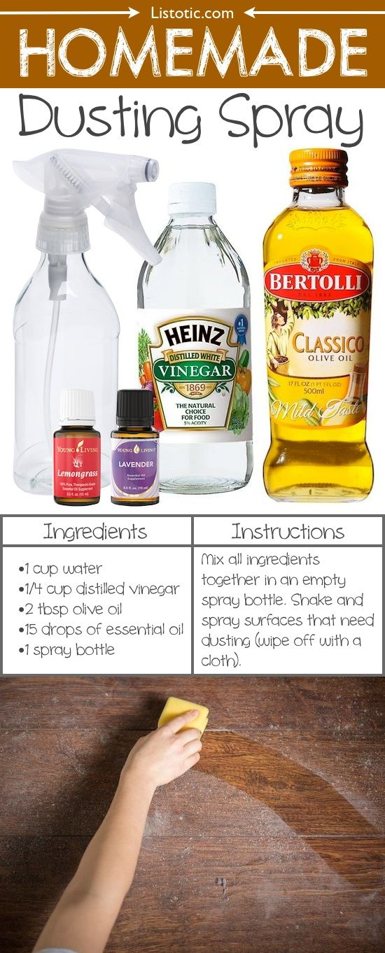 How to make DIY Homemade Dusting Spray with essential oils, white vinegar and olive oil! Works like a charm for furniture or cleaning anything made out of wood.