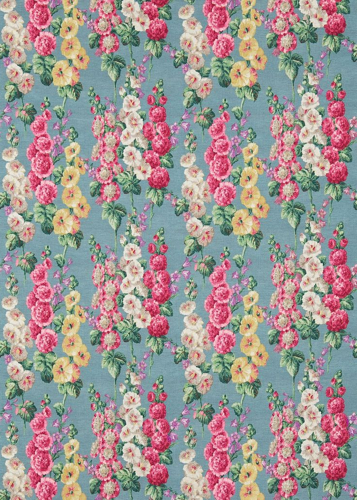 Hollyhocks (224310) - Sanderson Fabrics - Adding a vintage feel to any room, Hollyhocks is based on an archive document from 1937. It is digitally printed to best capture the array of colours, overprints and textures of the original block print. Shown here in petrol blue and various coloured flowers. Other colour ways available. Please request a sample for a true colour and texture match.