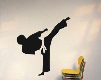 Kung Fu Wall Decal, asian decal, marital art wall decals, martial art murals, fighters wall decals, studio wall decor, s35