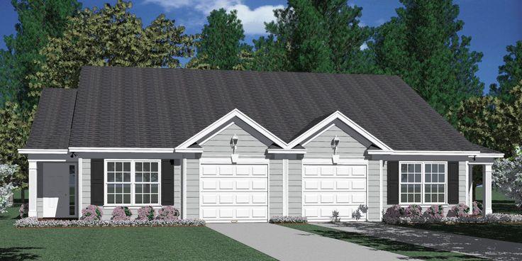House Plan D1196-B DUPLEX 1196-B elevation